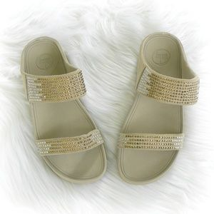 FITFLOP Flare Slide Pebble Suede Bling Sandals